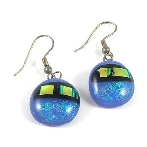 Beautiful Blue Dichroic Glass Vintage Earrings